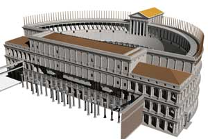 . Incomplete  model of the Theater of Pompey, looking SW (John Burge, J. Packer)