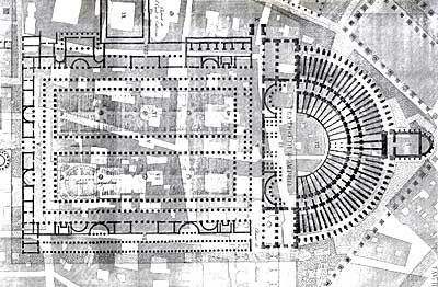 Canina, Plan of the Theater of Pompey
